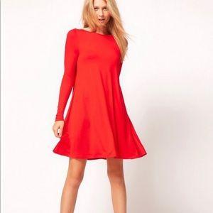 ASOS Red Swing Dress Size 4
